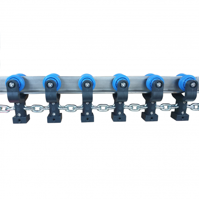 """Galv. chain with MX trolleys 4"""" 